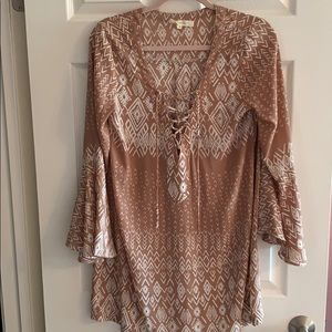 Olivacious Lace Front Printed Dress Size Medium